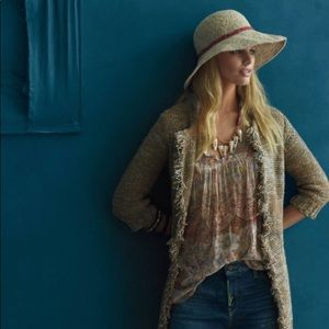 •Anthropologie• Sparrow Marled Peat Fringe Sweater